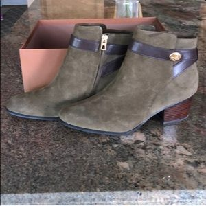COACH Olive Green & Brown Suede Booties